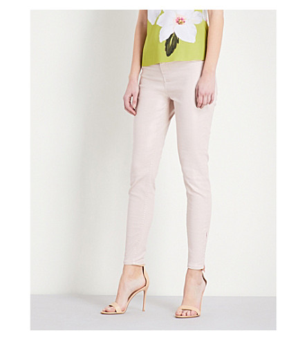 TED BAKER Coated stretch-denim jeans (Baby+pink