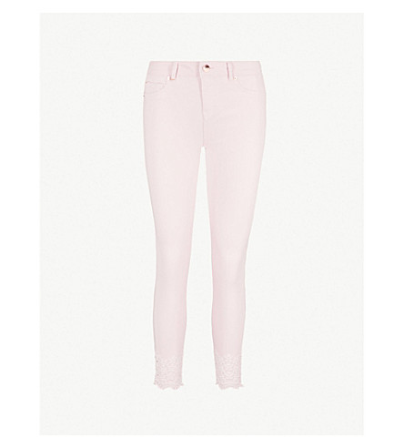 TED BAKER Massiee embroidered skinny mid-rise jeans (Baby+pink