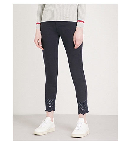 TED BAKER Massiee embroidered skinny mid-rise jeans (Navy