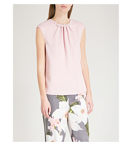 TED BAKER Camble faux-pearl embellished crepe top (Dusky+pink
