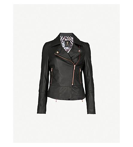 TED BAKER Minimal leather biker jacket (Black