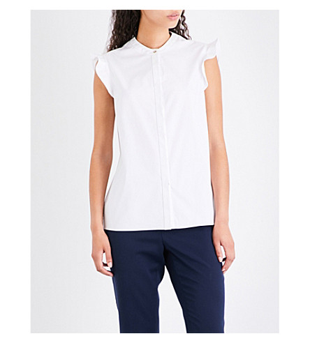 TED BAKER Frill-sleeve cotton shirt (White