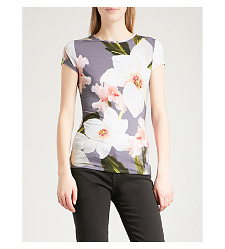 TED BAKER Chatsworth Bloom fitted jersey T-shirt (Grey