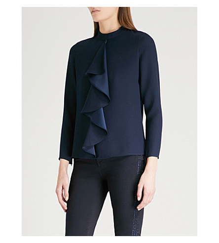 TED BAKER Glowria ruffled crepe blouse (Navy