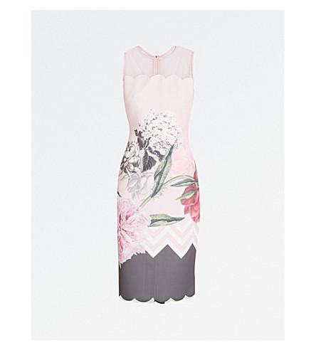TED BAKER Palace Gardens neoprene pencil dress (Dusky+pink
