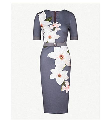 TED BAKER Bisslee floral-print jersey dress (Grey