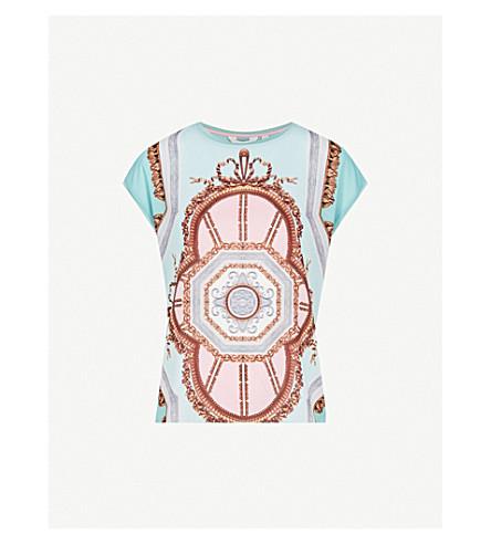 TED BAKER Versailles silk crepe top (Teal