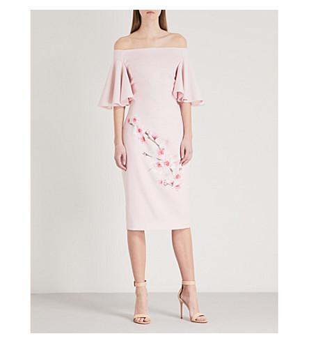 TED BAKER Calinda woven Bardot dress (Light+pink