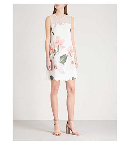 TED BAKER Chatsworth scallop floral print dress (White