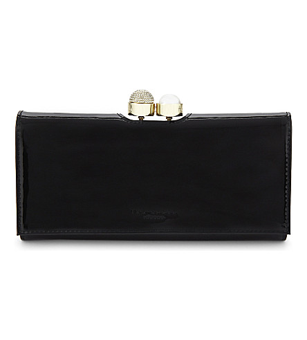 TED BAKER Pamella patent-leather matinée purse (Black