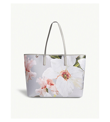 TED BAKER Cecie floral print shopper bag (Mid+grey