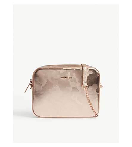 TED BAKER Camouflage-print metallic leather camera bag (Rose+gold