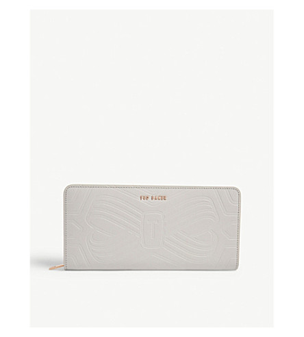 TED BAKER Embossed leather matinee purse (Light+grey