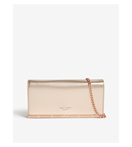 TED BAKER Metallic leather matinee purse with chain (Rose+gold