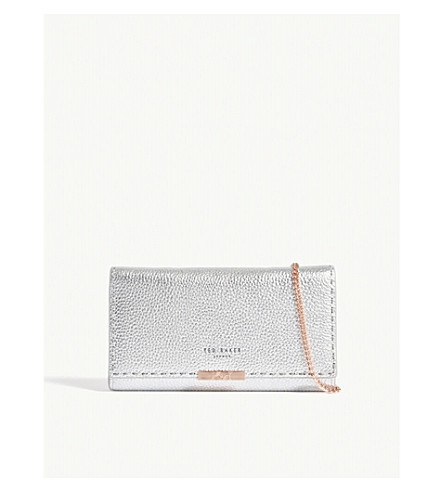 TED BAKER Janet matinee leather purse (Silver