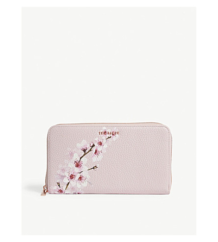 TED BAKER Kohei floral-print grained leather purse (Light+pink