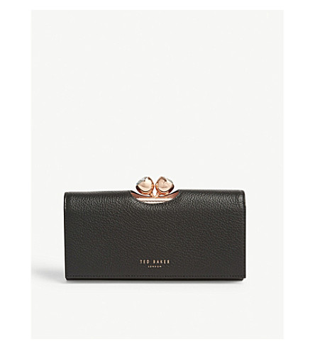 TED BAKER Bobble matinee textured leather wallet (Black