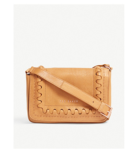 TED BAKER Interlocking leather cross-body bag (Tan
