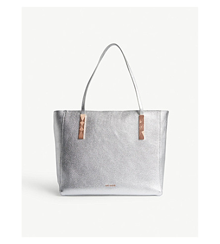 TED BAKER Paigie metallic grained leather tote (Silver