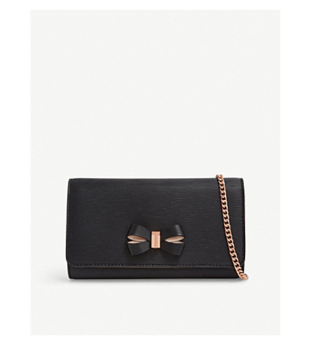 TED BAKER Melisia leather wallet-on-chain (Black