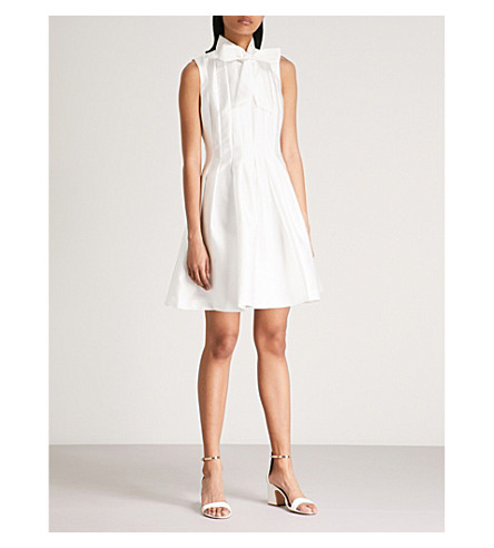 TED BAKER Doora fit-and-flare satin-twill dress (Natural