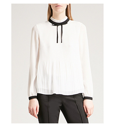 TED BAKER Pleated high-neck chiffon top (Natural
