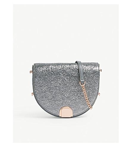 TED BAKER Roxaane textured leather moon bag (Gunmetal