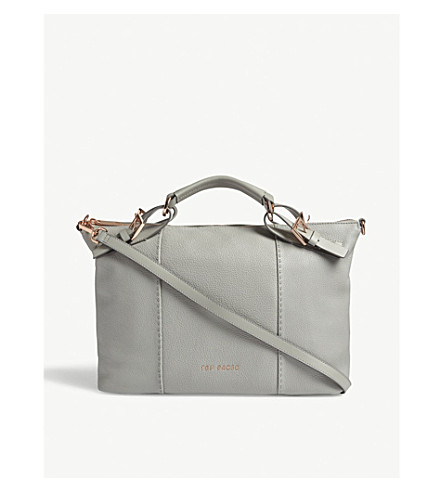 TED BAKER SALBEE bridle handle leather tote (Mid+grey