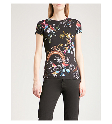 TED BAKER Opulent Fauna fitted jersey top (Black