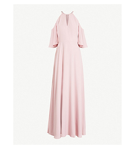 TED BAKER Dulciee cutout woven gown (Dusky pink