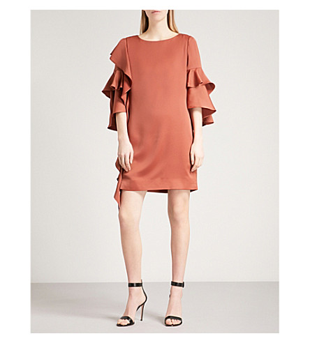 TED BAKER Eicio frill tunic crepe dress (Brown