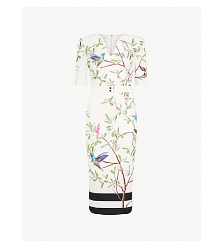 TED BAKER Evrely floral-print woven midi dress (White
