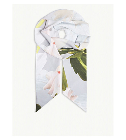 TED BAKER Coel floral print scarf (Mid+grey