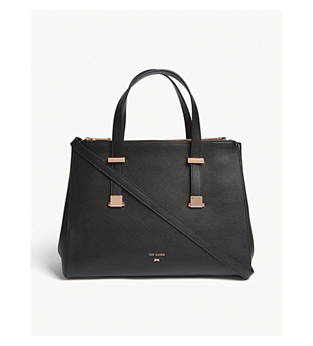 TED BAKER Aminaa large leather tote (Black