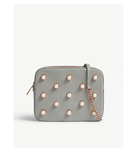 TED BAKER Alessia pearl leather camera bag (Mid+grey