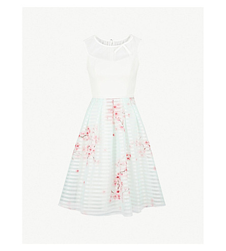 TED BAKER Idola Soft Blossom-print crepe and organza dress (Natural