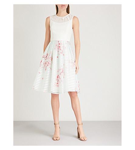 TED BAKER Idola Soft Blossom-print crepe and organza dress (Natural