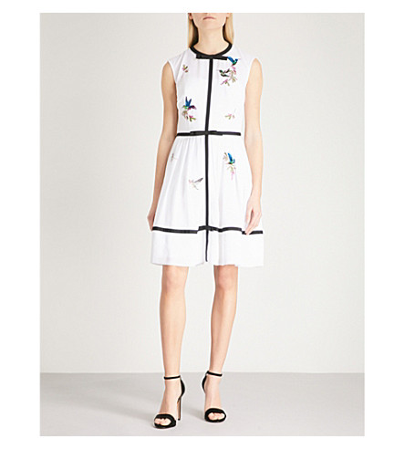 TED BAKER Iina highgrove-pattern chiffon mini dress (White