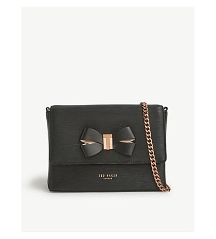 TED BAKER Bow mini leather cross-body bag (Black
