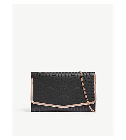 TED BAKER Bree laser cut leather bow clutch (Black