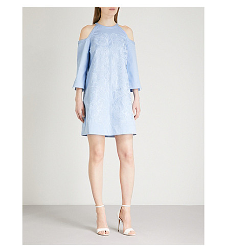 TED BAKER Jettas floral-embroidered stretch-cotton dress (Baby+blue