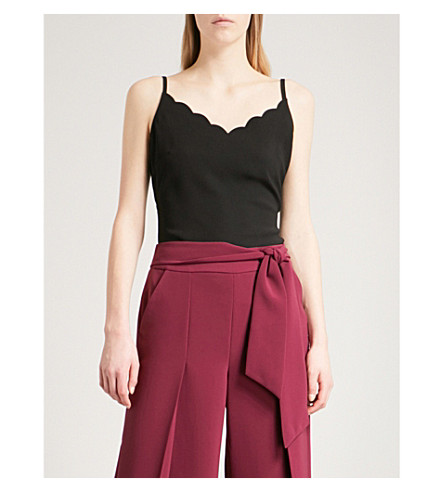 TED BAKER Scalloped crepe camisole (Black