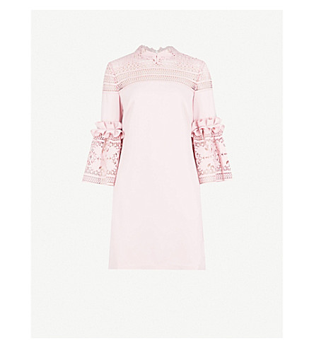TED BAKER Bell sleeve crepe lace dress (Dusky+pink