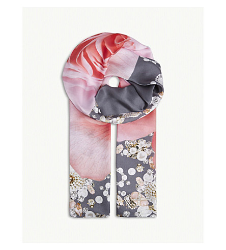 TED BAKER Blenheim Jewels and rose print long silk scarf (Grey