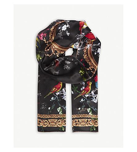 TED BAKER Omasi fauna print skinny silk scarf (Black