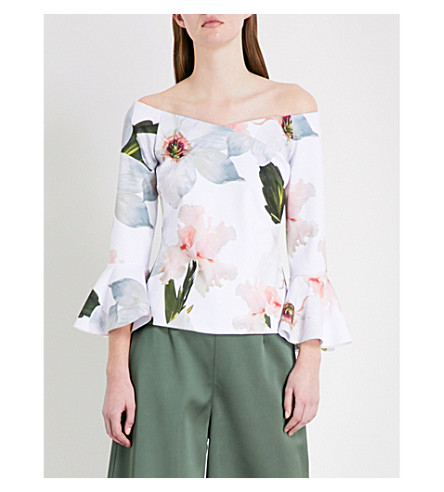 TED BAKER Chatsworth floral-print jersey top (White