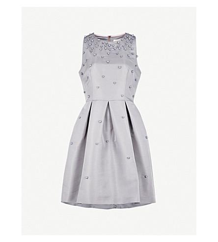 TED BAKER Embellished woven skater dress (Grey