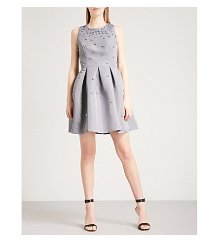 TED BAKER Embellished woven skater dress (Grey