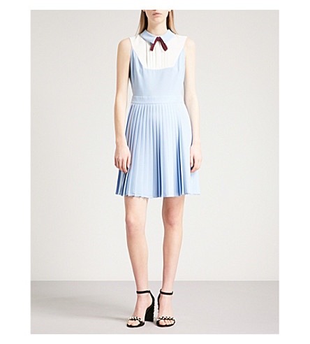 TED BAKER Pleated crepe dress (Baby+blue
