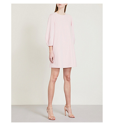 TED BAKER Puff-sleeve crepe tunic (Dusky+pink